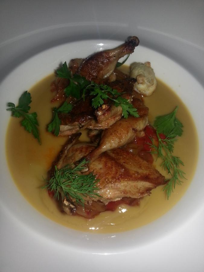 Rannoch Farm quail, Japanese-style quail custard,piperade, tempura quail egg, herb salad