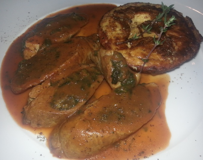 Noce di Vitello - Oven baked rolled veal filled with spinach & San Daniele prosciutto served with a potato tortino